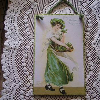 PLAQUE W/ ELLEN CLAPSADDLE ORIG. ST.PATRICK DAY ART POSTCARD ENLARGED,SIGNED - Cards