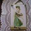 PLAQUE W/ ELLEN CLAPSADDLE ORIG. ST.PATRICK DAY ART POSTCARD ENLARGED,SIGNED