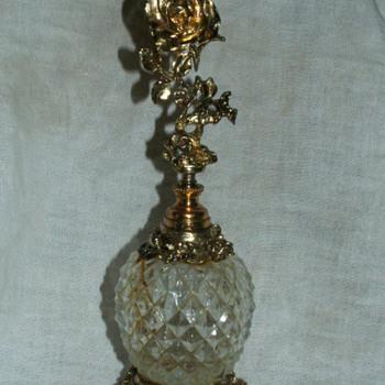 Vintage Stylebuilt Ormolu Rose Filigree & Crystal Perfume Decanter