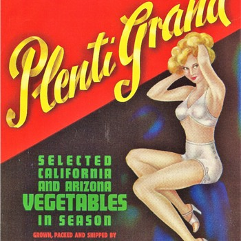 Plenti Grand vegetable crate label - Advertising