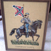 Old Needlepoint  Confederate  Soldier  textile  picture