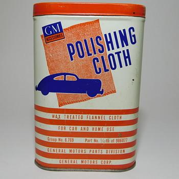 GM Polishing Cloth Tin ....Complete - Advertising