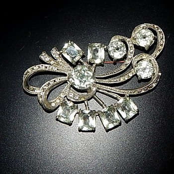 Large Rhinestone Coat Pin - Costume Jewelry