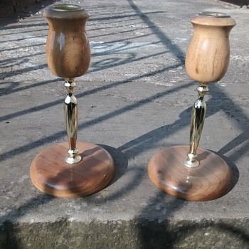Mrytlewood Candlesticks form Oregon USA a pair in wood and brass or brass effect metal.