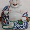 Large Antique CHINESE BLUE & WHITE PORCELAIN BUDDHA FIGURE