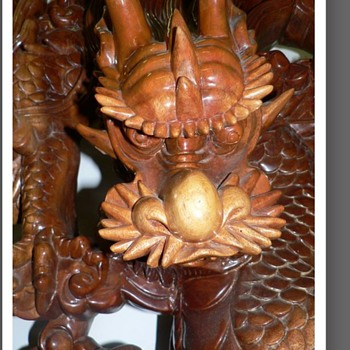 Grand Dragon - relief carved - 5 dragons part 2 - Asian