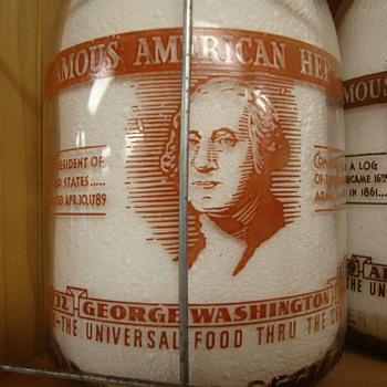 "JOHNSTOWN DAIRY..JOHNSTOWN PENNSYLVANIA...""GEORGE WASHINGTON..FAMOUS AMERICAN HEROES"" MILK BOTTLE - Bottles"