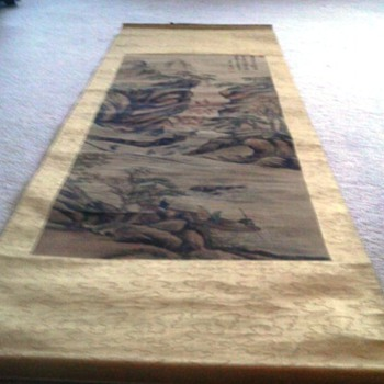 asian scroll painted on paper substrate