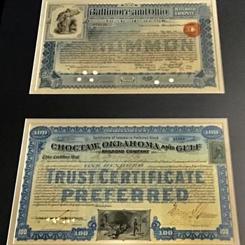 Old railroad certificates  - Railroadiana
