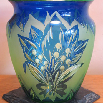 Loetz PN III-1821 cameo & cut glass vase ca. 1923 - Art Glass