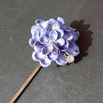 Antique chrysanthemum enamel stickpin, part 2 after kyratisation. - Fine Jewelry