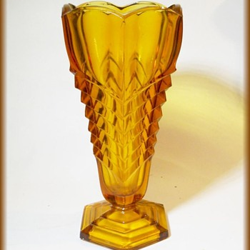 Davidson Amber Glass VASE -  Pattern 295 -  Chevron  - Glassware