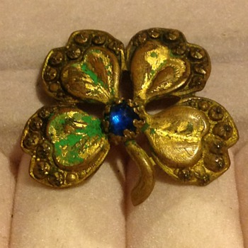 Four Leaf Clover  Interesting Brooch/Pin - Costume Jewelry