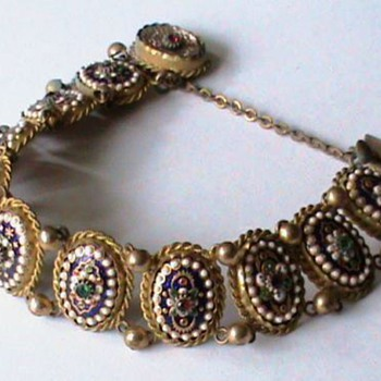 Antique Rare Bressan Enamel French Bracelet - Fine Jewelry