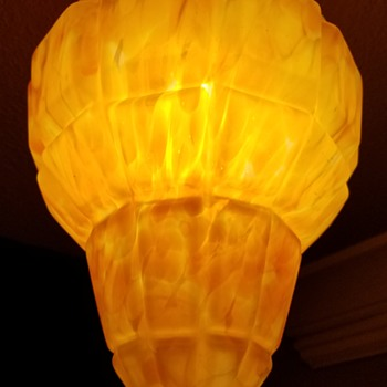 Art deco geometric glass light shade - Art Deco