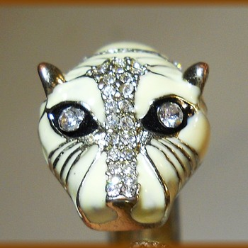 Cougar // Panther --  Hinged Bracelet - Clamper Type - Costume Jewelry