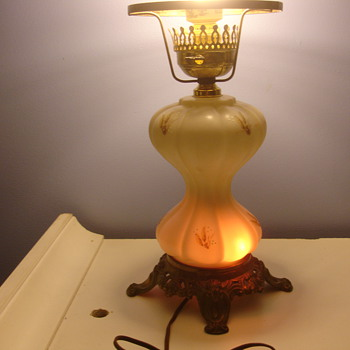 Antique glass lamp. Unknown Maker. base has internal bulb as well. - Lamps