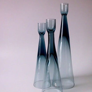 Bengt Edenfalk Candleholders for Skruf - Art Glass