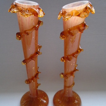 Bohemian? Welz? Vases Cased in Amber..... still a work in progress!