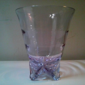 """Tiffin"" Line Sweet Pea Vase in ""Twilight"" (Neodymium)/ Swedish or Tiffin Optic Pattern #17430/Circa 1950's - Art Glass"