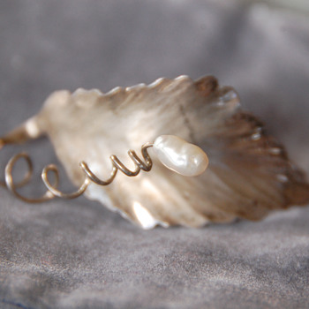 Hammered Silver Leaf with Pearl Brooch by Pearce Sterling