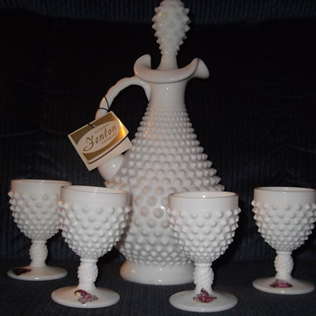 Fenton Glass Wine Decanter with 4 cups Hobnail  Pattern Milk Glass - Glassware
