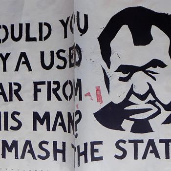 1970 UC Berkeley Anti-Nixon protest street art poster, silk screened on a computer print-out. - Politics
