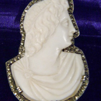 Antique French Victorian Carved Cameo Marcasite Silver Brooch - Fine Jewelry