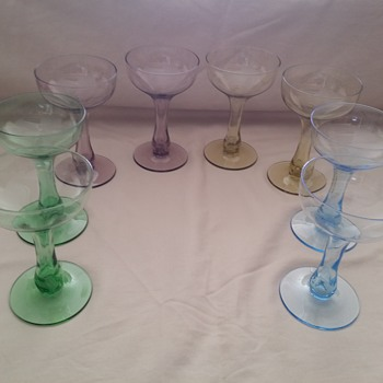 Antique Champagne Glasses, Purple, Green, Blue, and Yellow - Glassware