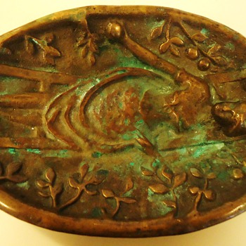 Old very interesting cast? Brass plate small 6 in. X 4 in.  Heavy about 1 pound - Art Nouveau