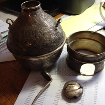 Unknown silver cannister with lid, stand and ladle from Egypt - Silver