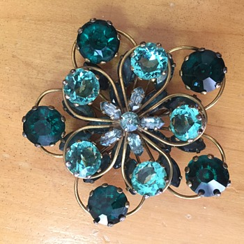 Old Sterling Green Rhinestone Fur Clip  - Costume Jewelry