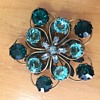 Old Sterling Green Rhinestone Fur Clip