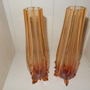 Uranium glass vases - Glassware
