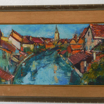 1959 Oil Painting on Wood Board.  Signed: MM   Art Work on Front and Back of the Board - Fine Art