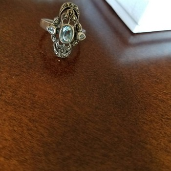 Vintage Aquamarine and Marcasite Silver Ring