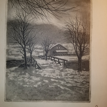 Snowy Country Barn Etching