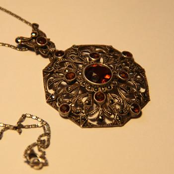Art Deco 935 silver pendant - Fine Jewelry