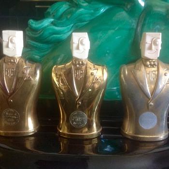 """Art Deco """"HIS"""" bottles in gold - Art Deco"""