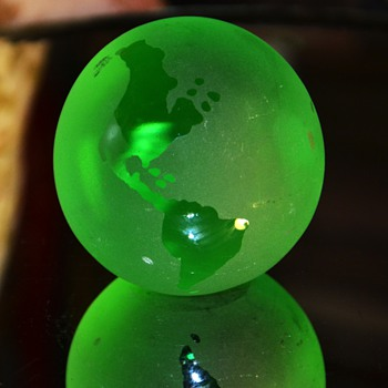 Green Globe Paperweight - Art Glass