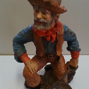 bronze look resin statue of a miner - Figurines