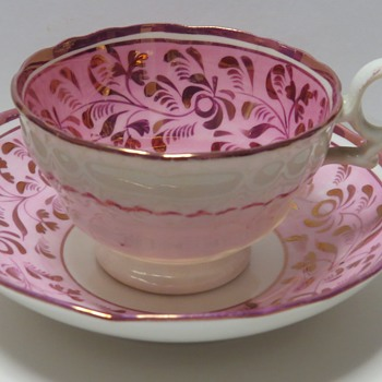Antique Pink Lustre Cup and Saucer - Marked 1136 - China and Dinnerware