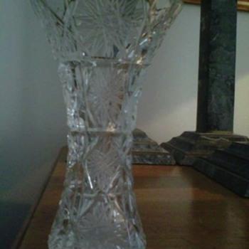 Etched cut crystal bud vase, vintage or antique - Glassware