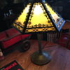 1920's Edward Miller Slag Glass Lamp...six panels
