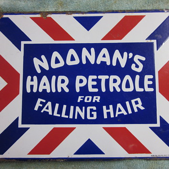 Noonan's Hair Petrole Porcelain Flange sign...1920's - Advertising