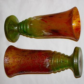 Pair of Glue Chip / Chipped Ice Vases ( chzechoslovia ) - Art Glass