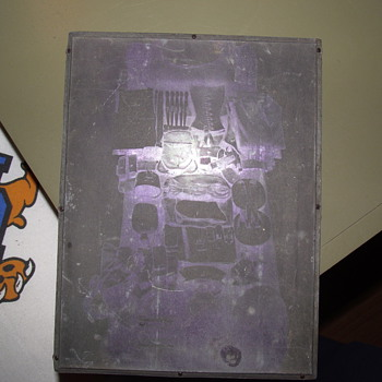 Printing Block from WWII, appears to have image of a bed with gear layed out. - Posters and Prints