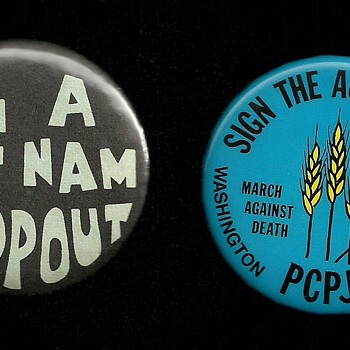 2 Early 1970s Vietnam protest pinback buttons