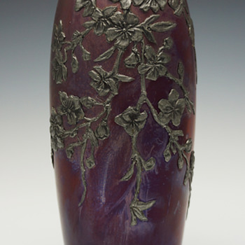 Circa 1900 Alphonse Cytère Pewter Overlay Sandstone Ceramic Vase - Art Nouveau
