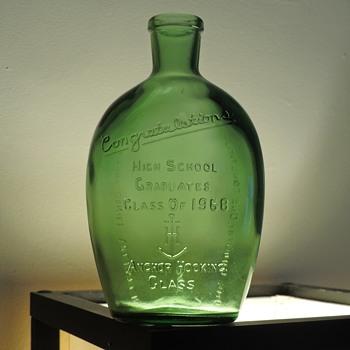 1968 Connellsville High School Graduates Flask Bottle Anchor Hocking Green Embossed Commemorative - Bottles
